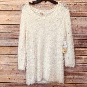 NWT! Reba Cream Sparkle Scoop Neck Sweater